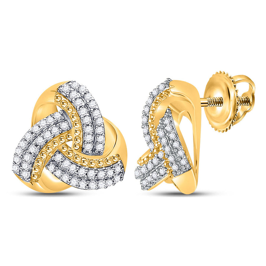 10kt Yellow Gold Womens Round Diamond Celtic Knot Stud Earrings 1/4 Cttw