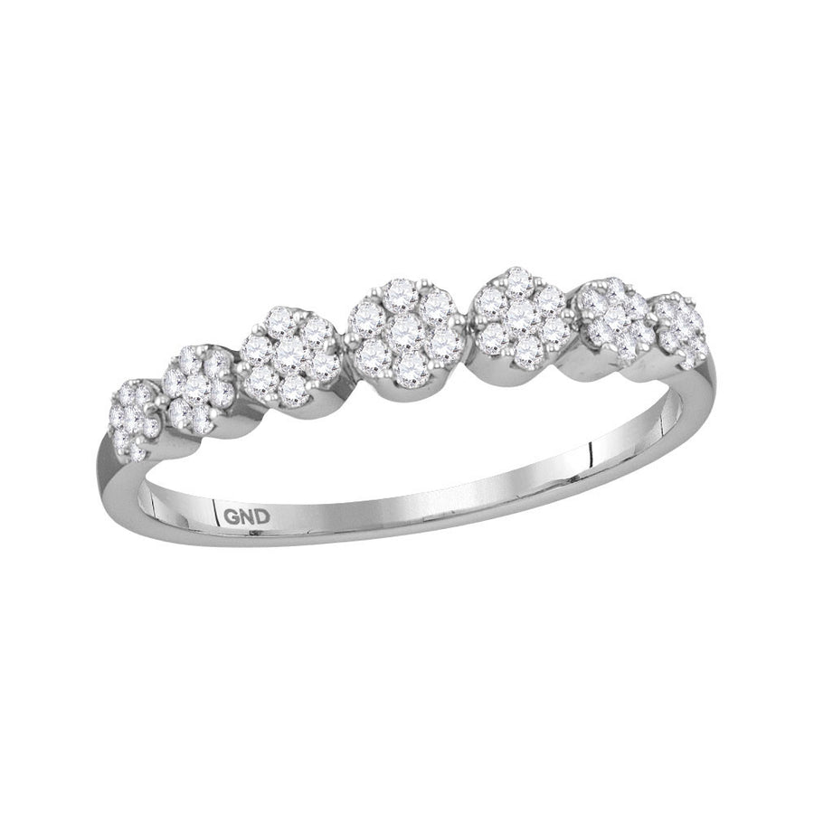 10kt White Gold Womens Round Diamond Flower Cluster Ring 1/4 Cttw
