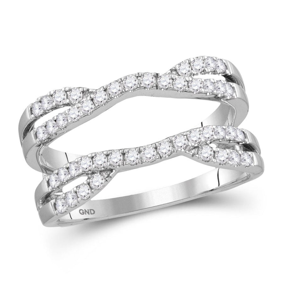 14kt White Gold Womens Round Diamond Wedding Wrap Ring Guard Enhancer 1/2 Cttw