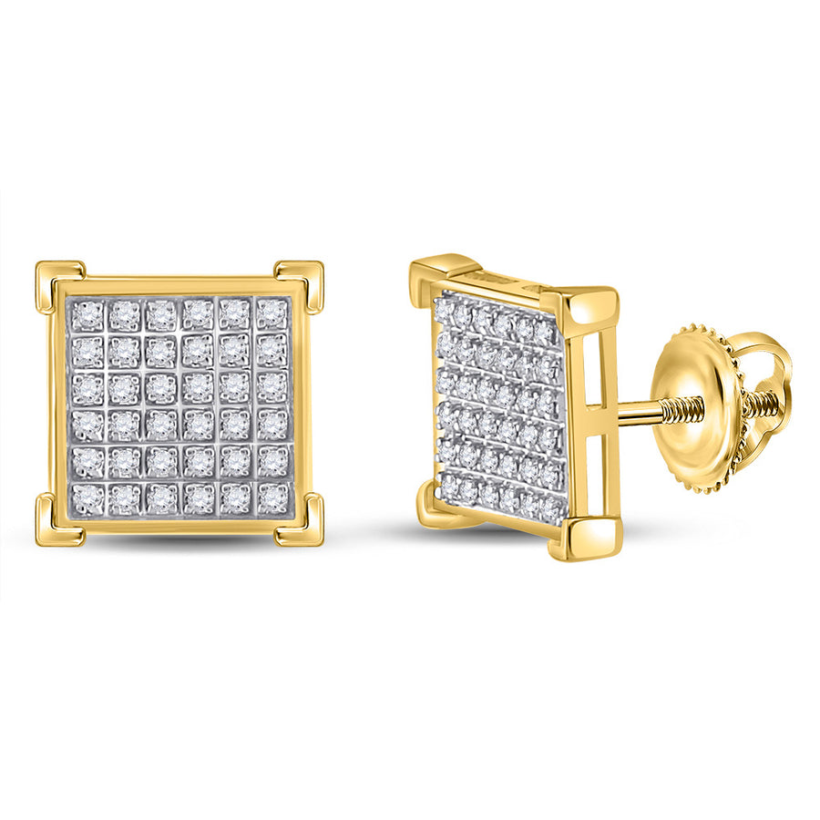 10kt Yellow Gold Mens Round Diamond Square Earrings 1/5 Cttw