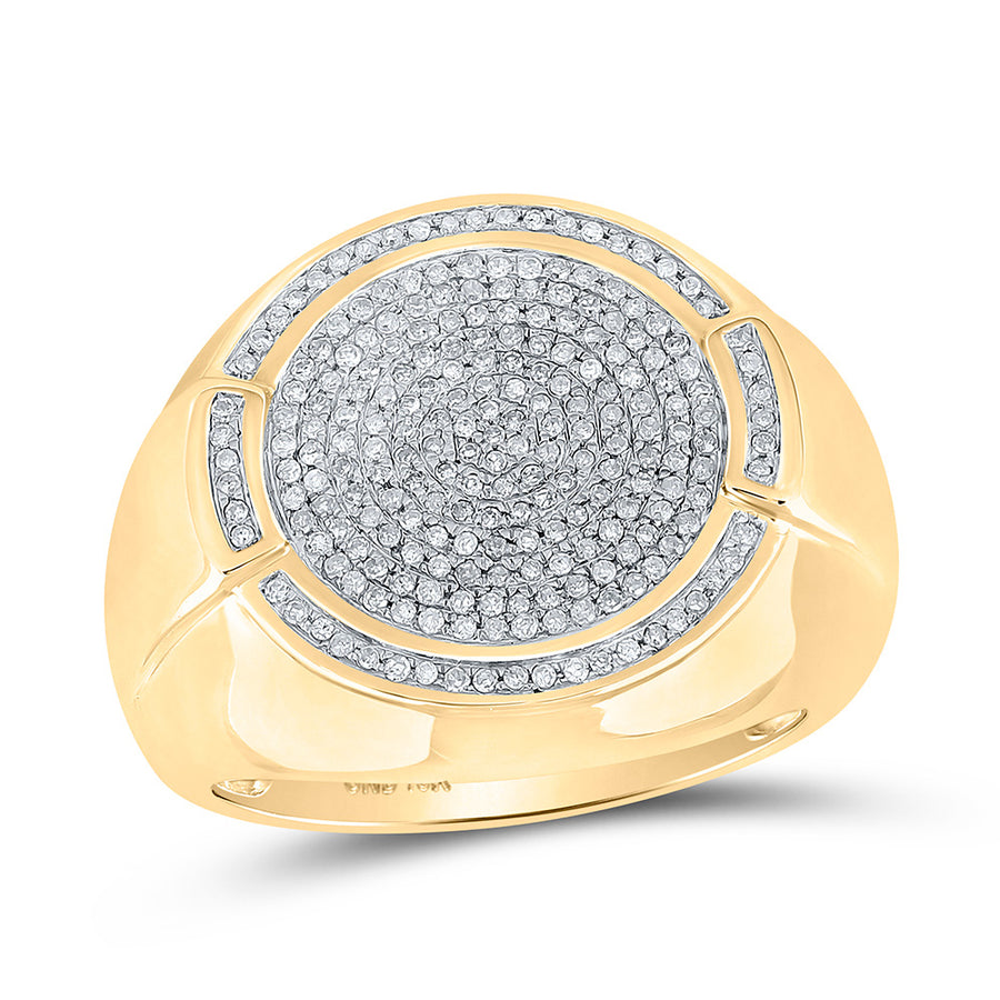 10kt Yellow Gold Mens Round Diamond Circle Cluster Ring 5/8 Cttw
