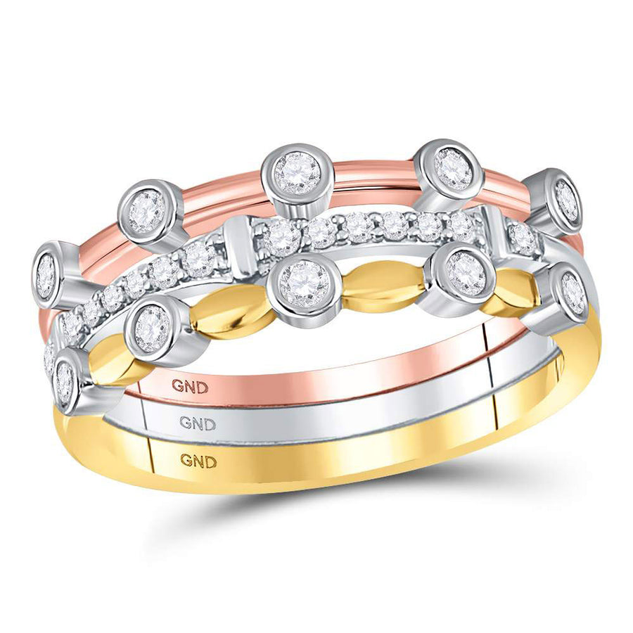 10kt Tri-Tone Gold Womens Round Diamond 3-Piece Stackable Band Ring Set 1/3 Cttw