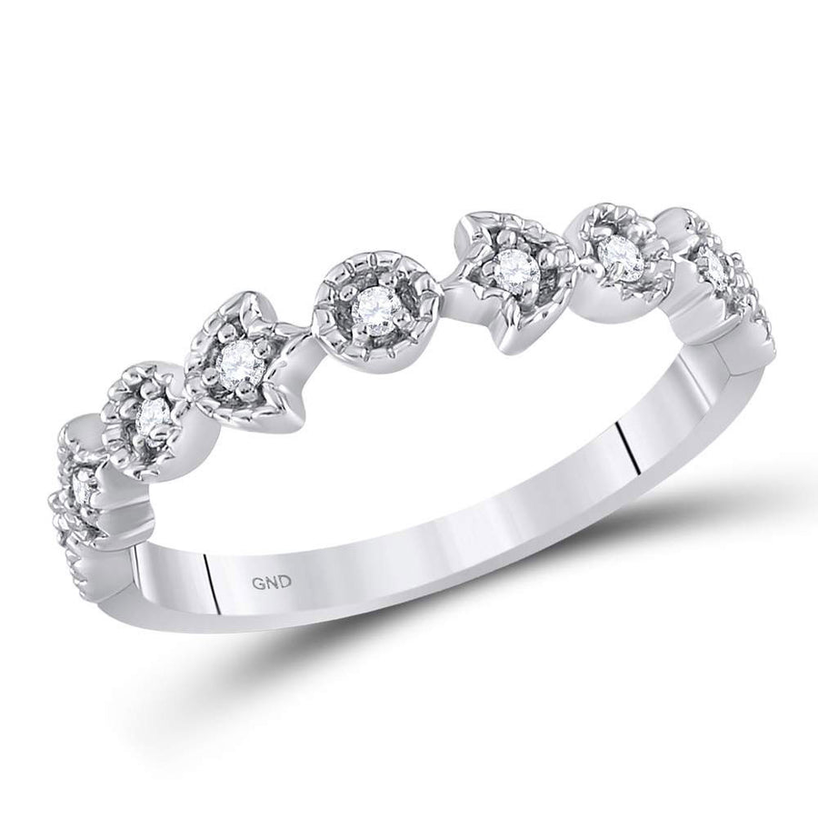 14kt White Gold Womens Round Diamond Floral Stackable Band Ring 1/10 Cttw