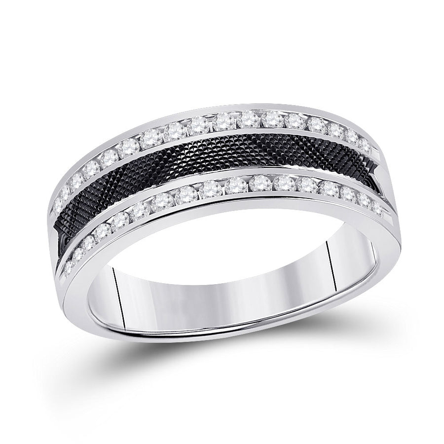 14kt White Gold Mens Round Diamond Wedding Double Row Band Ring 1/2 Cttw