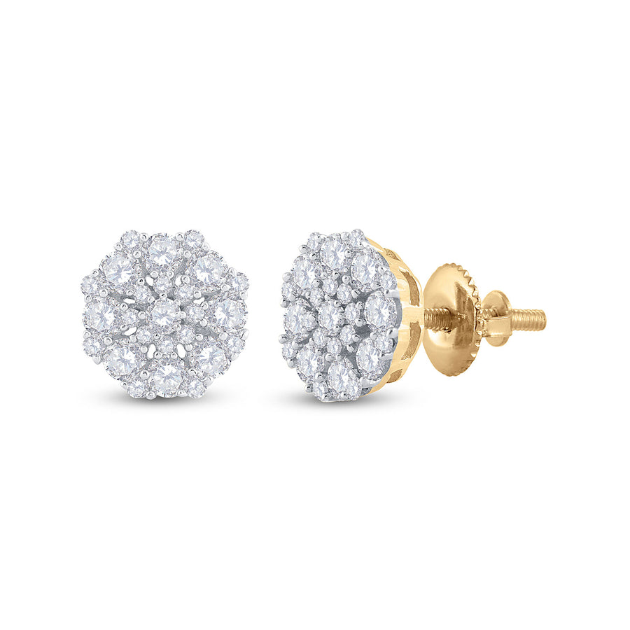 14kt Yellow Gold Womens Round Diamond Cluster Earrings 7/8 Cttw