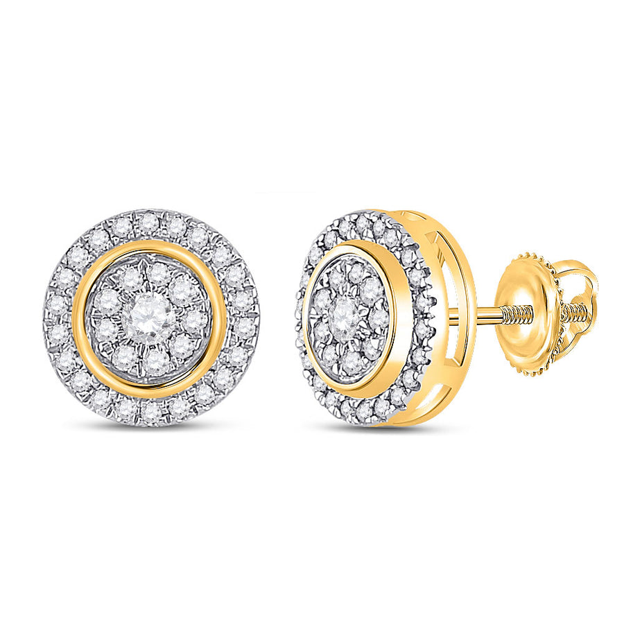 14kt Yellow Gold Womens Round Diamond Circle Cluster Earrings 1/3 Cttw