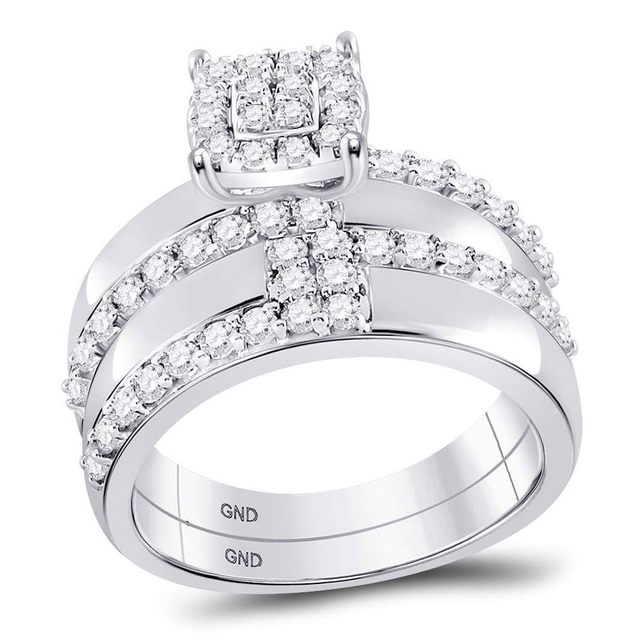 14kt White Gold His Hers Round Diamond Cluster Matching Wedding Set 1-1/2 Cttw