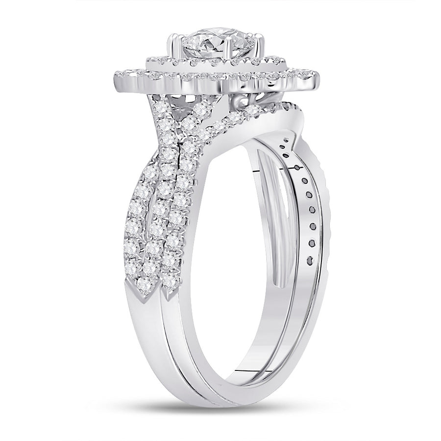 14kt White Gold Marquise Diamond Bridal Wedding Ring Band Set 2 Cttw