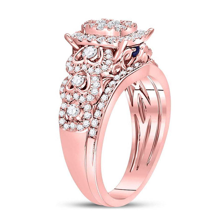 14kt Rose Gold Round Diamond Bridal Wedding Ring Band Set 7/8 Cttw