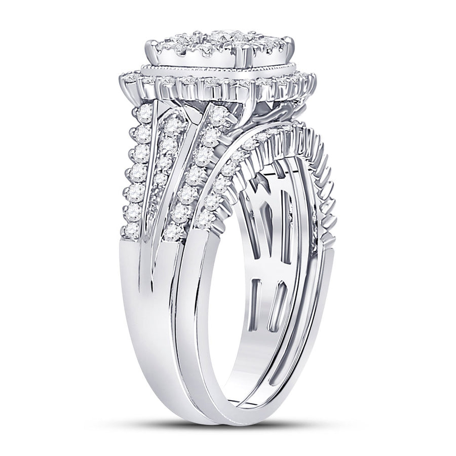 10kt White Gold Round Diamond Bridal Wedding Ring Band Set 1-1/4 Cttw