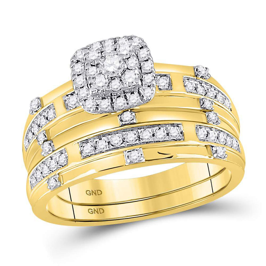 14kt Yellow Gold His Hers Round Diamond Solitaire Matching Wedding Set 3/4 Cttw