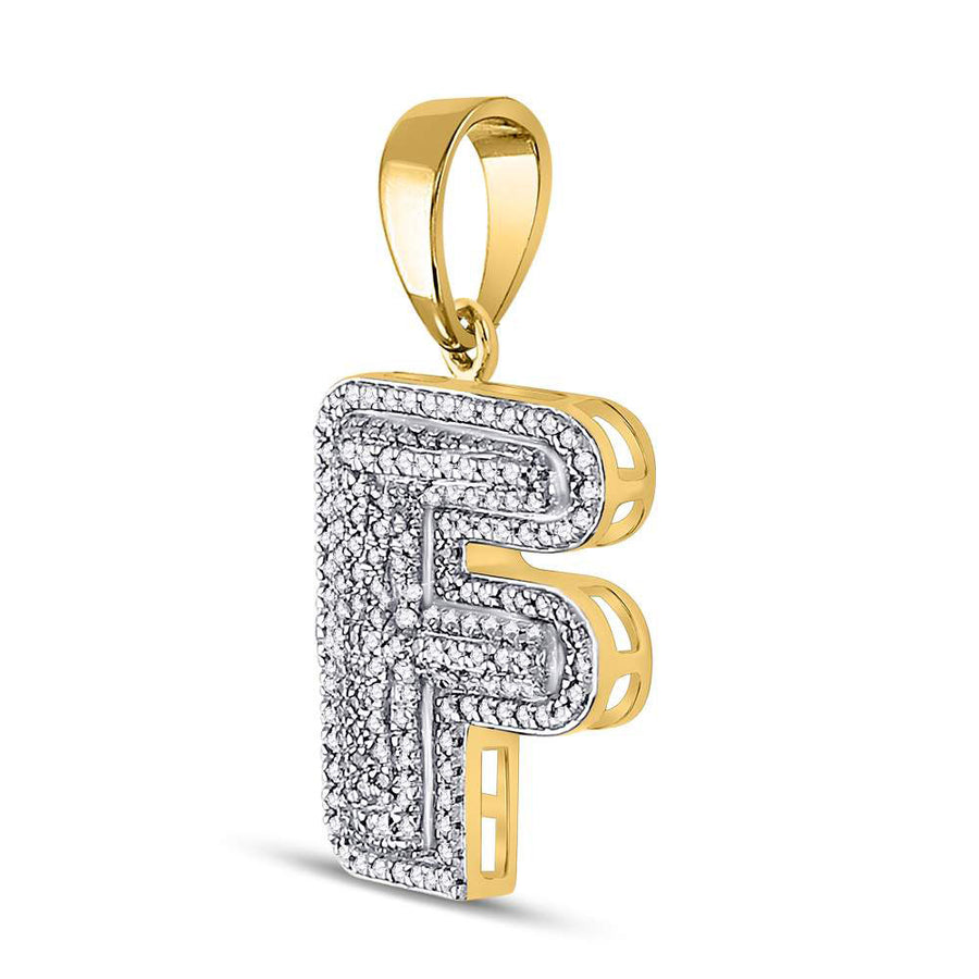 10kt Yellow Gold Mens Round Diamond Letter F Bubble Initial Charm Pendant 1/2 Cttw