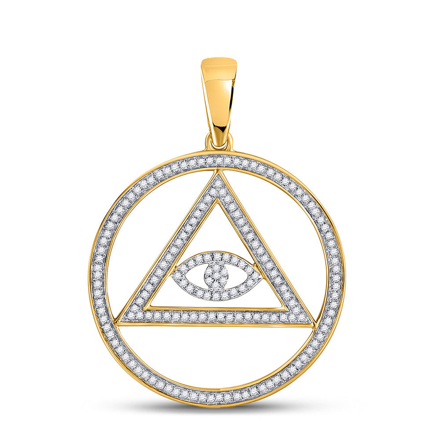 10kt Yellow Gold Mens Round Diamond All-Seeing Eye of Providence Charm Pendant 1/2 Cttw