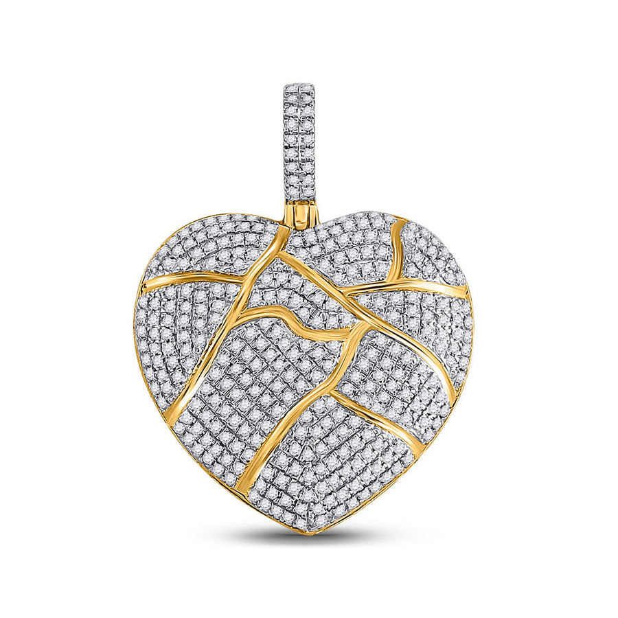 10kt Yellow Gold Mens Round Diamond Broken Heart Charm Pendant 1 Cttw