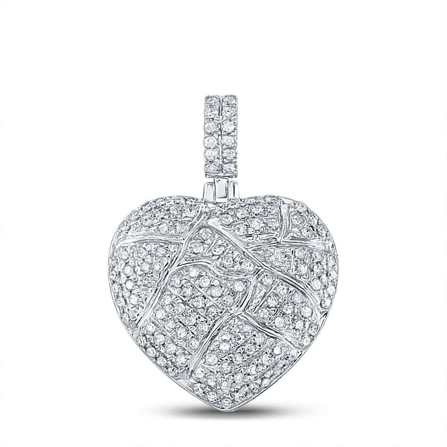 10kt White Gold Mens Round Diamond Cracked Heart Charm Pendant 3/8 Cttw