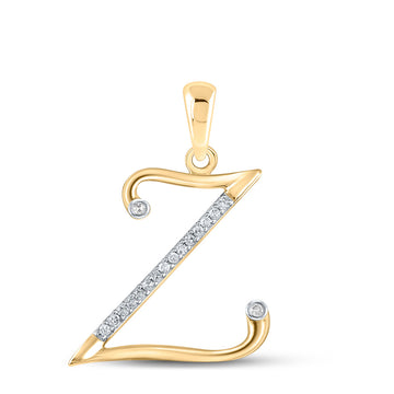 10kt Yellow Gold Womens Round Diamond Initial Z Letter Pendant 1/12 Cttw