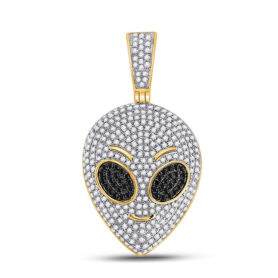 10kt Yellow Gold Mens Round Black Color Enhanced Diamond Alien Charm Pendant 1 Cttw