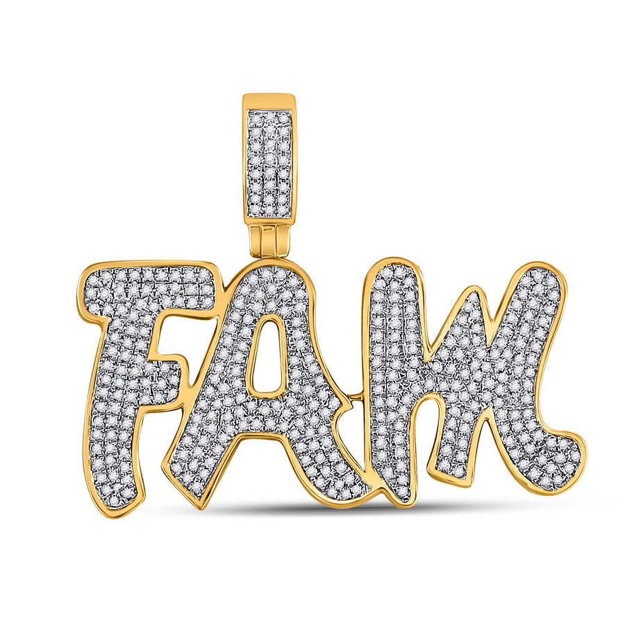 10kt Yellow Gold Mens Round Diamond Fam Charm Pendant 1 Cttw
