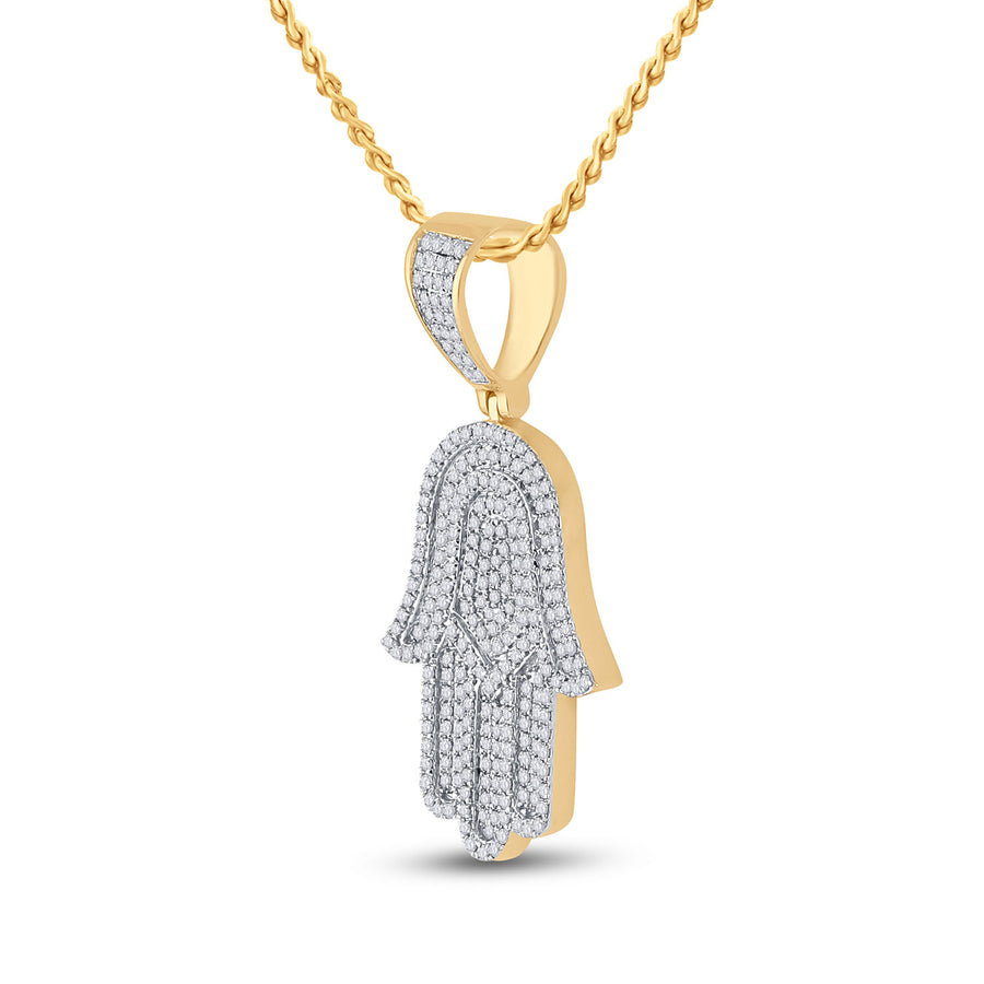14kt Yellow Gold Mens Round Diamond Hamsa Hand Charm Pendant 3/4 Cttw