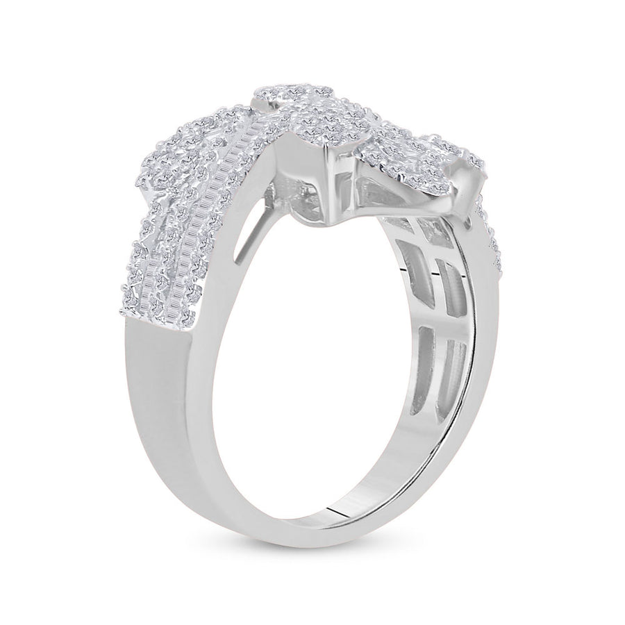 14kt White Gold Womens Baguette Diamond Bypass Cluster Fashion Ring 1-1/3 Cttw