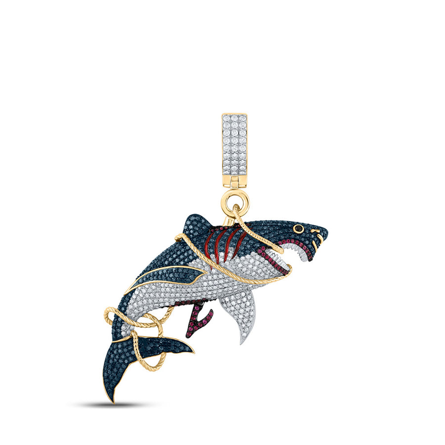 14kt Yellow Gold Mens Round Ruby Diamond Shark Charm Pendant 3-1/2 Cttw
