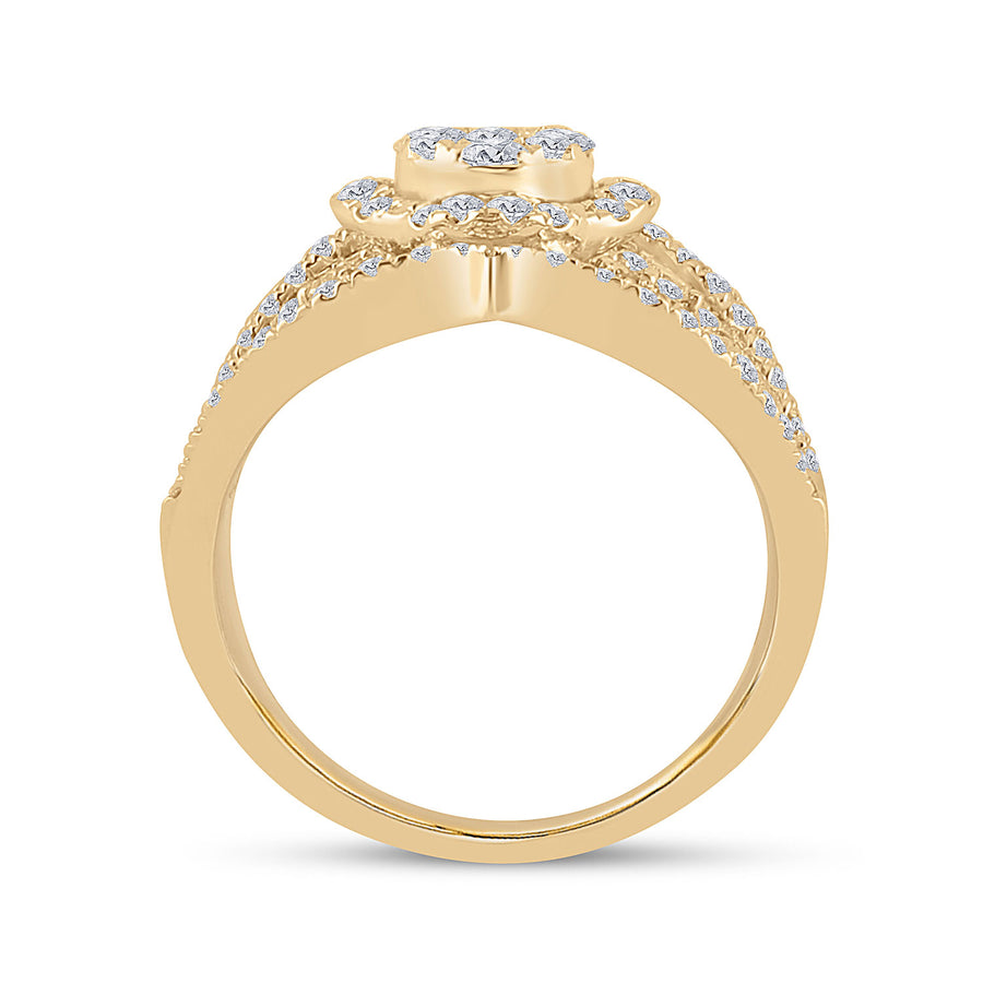 14kt Yellow Gold Womens Round Diamond Fashion Ring 1-3/4 Cttw
