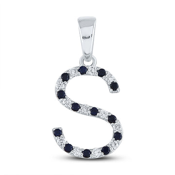 10kt White Gold Womens Round Blue Sapphire Initial S Letter Pendant 1/4 Cttw