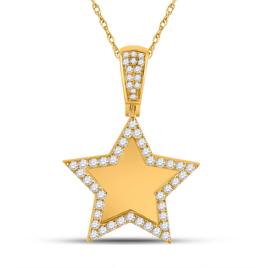 10kt Yellow Gold Mens Round Diamond Picture Memory Star Charm Pendant 7/8 Cttw