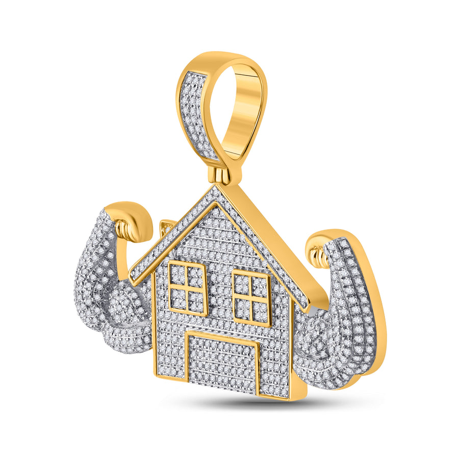 10kt Yellow Gold Mens Round Diamond Flex Trap House Charm Pendant 1-1/2 Cttw