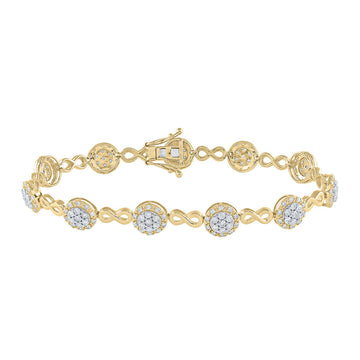 10kt Yellow Gold Womens Round Diamond Infinity Bracelet 2-1/5 Cttw