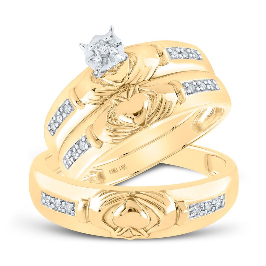 14kt Yellow Gold His Hers Round Diamond Claddagh Matching Wedding Set 1/8 Cttw