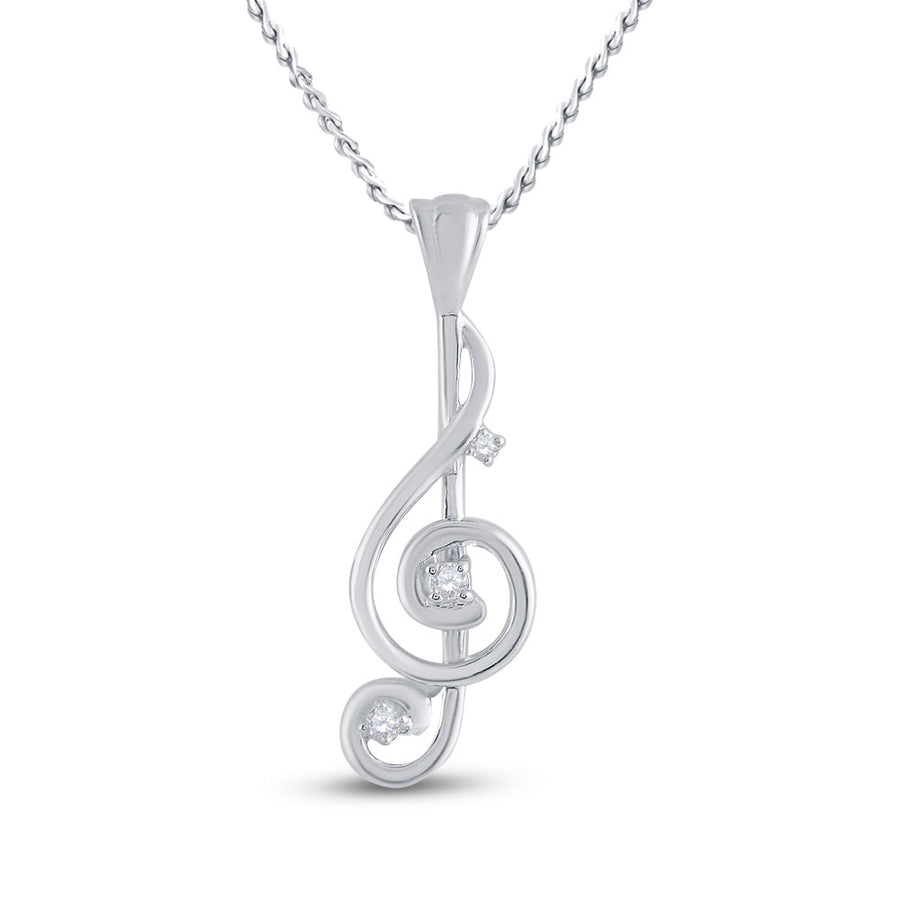 10kt White Gold Womens Round Diamond Treble Clef Music Note Pendant 1/20 Cttw