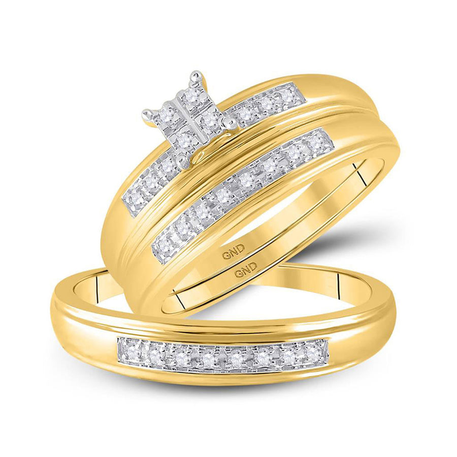 14kt Yellow Gold His Hers Round Diamond Square Matching Wedding Set 1/5 Cttw
