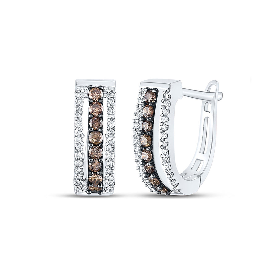 14kt White Gold Womens Round Brown Diamond Triple Row Huggie Earrings 1/2 Cttw