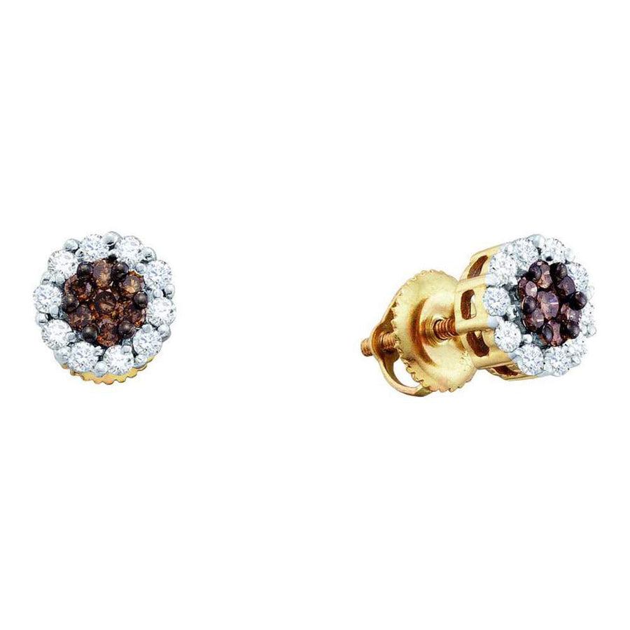 14kt Yellow Gold Womens Round Brown Diamond Flower Cluster Earrings 1-1/2 Cttw