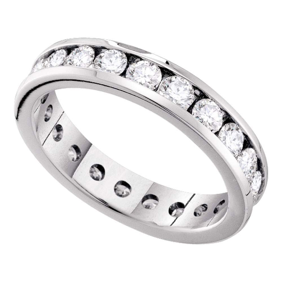 14kt White Gold Womens Round Channel-set Diamond Eternity Wedding Anniversary Band 2 Cttw
