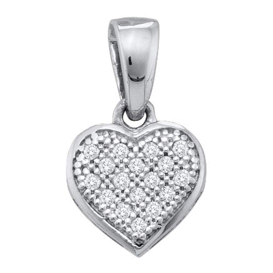 Sterling Silver Womens Round Diamond Small Heart Cluster Pendant 1/20 Cttw