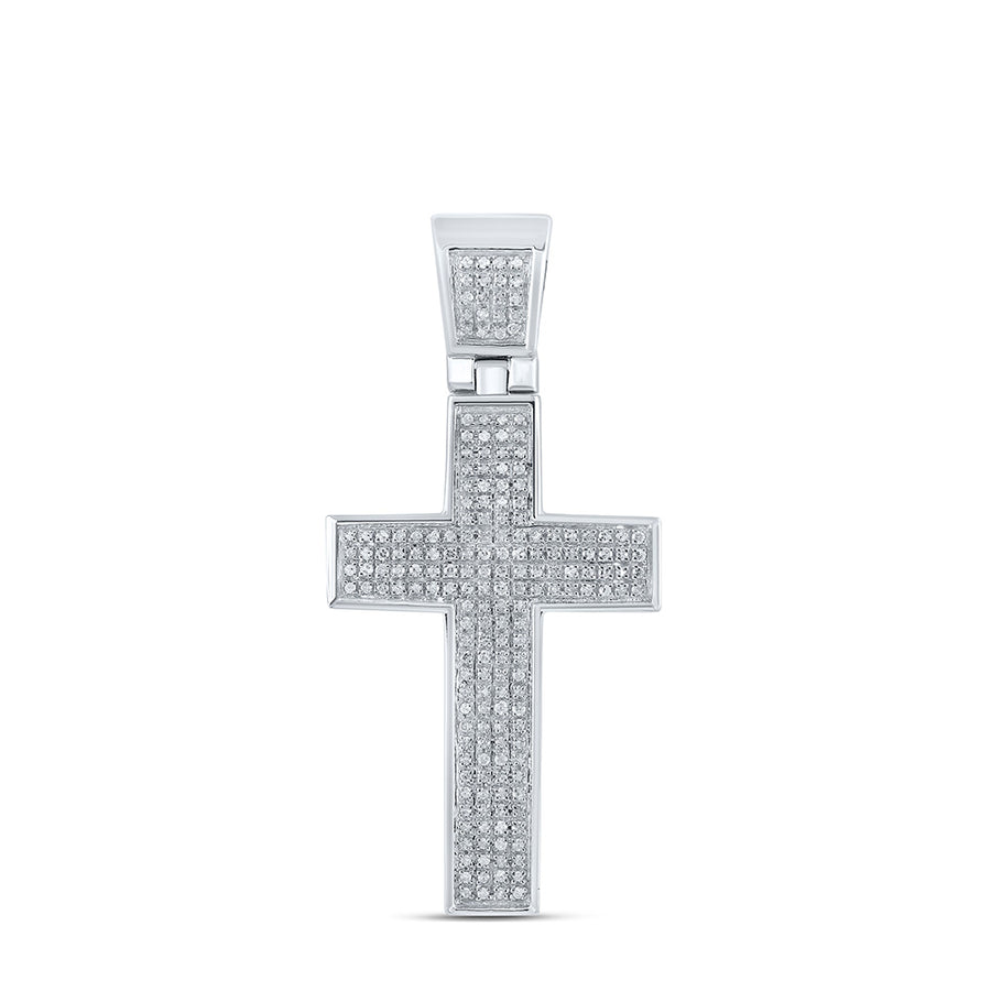 Sterling Silver Mens Round Diamond Roman Cross Charm Pendant 1/2 Cttw