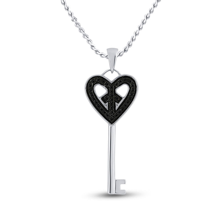 Sterling Silver Womens Round Black Color Enhanced Diamond Key Heart Pendant 1/10 Cttw