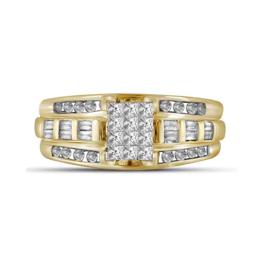 14kt Yellow Gold Princess Diamond Cluster Bridal Wedding Engagement Ring 1/2 Cttw