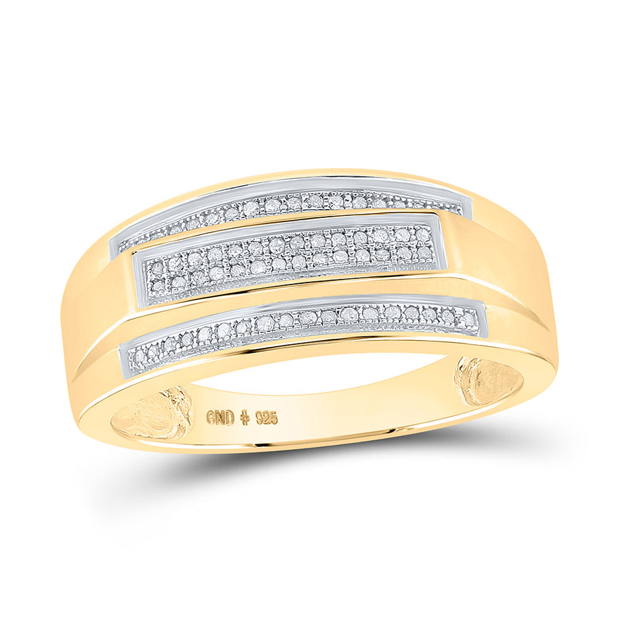 Yellow-tone Sterling Silver Mens Round Diamond Band Ring 1/5 Cttw
