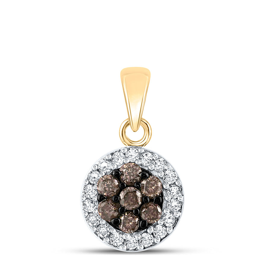 10kt Yellow Gold Womens Round Brown Diamond Framed Flower Cluster Pendant 3/8 Cttw