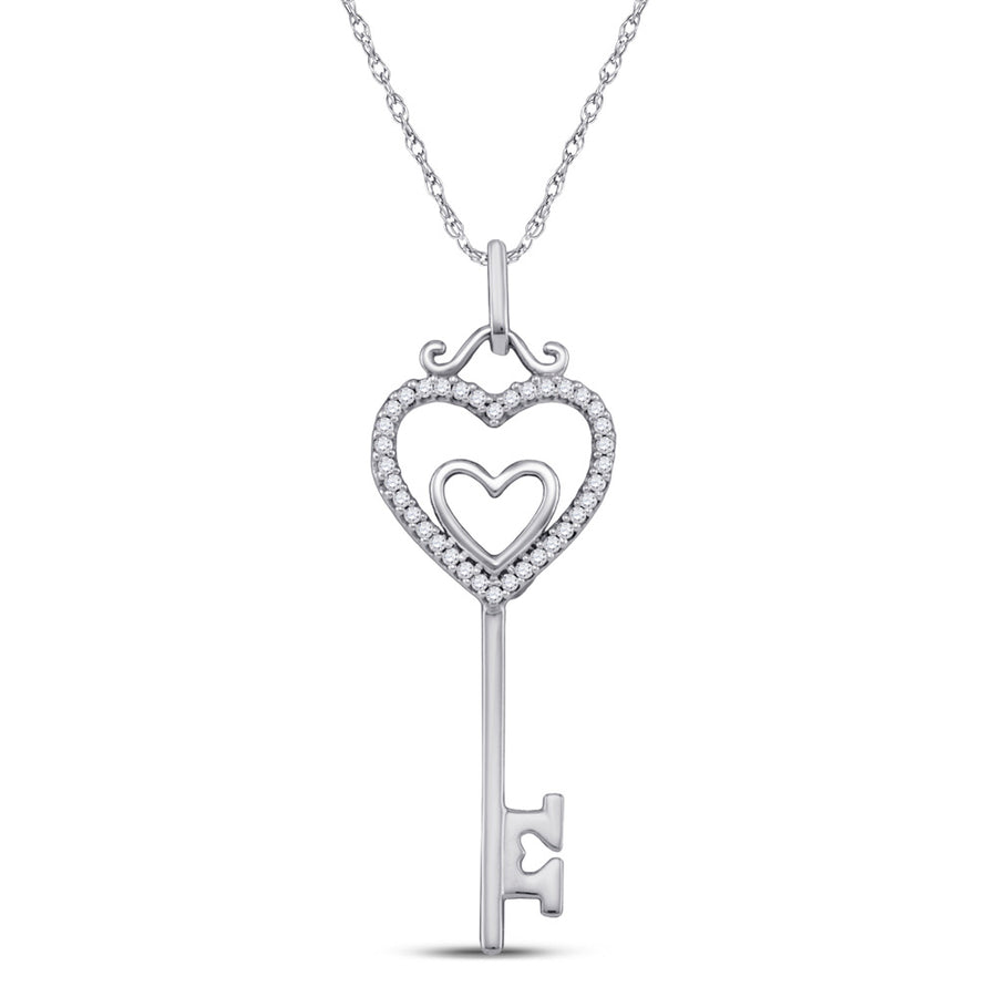 10kt White Gold Womens Round Diamond Heart Key Pendant 1/10 Cttw