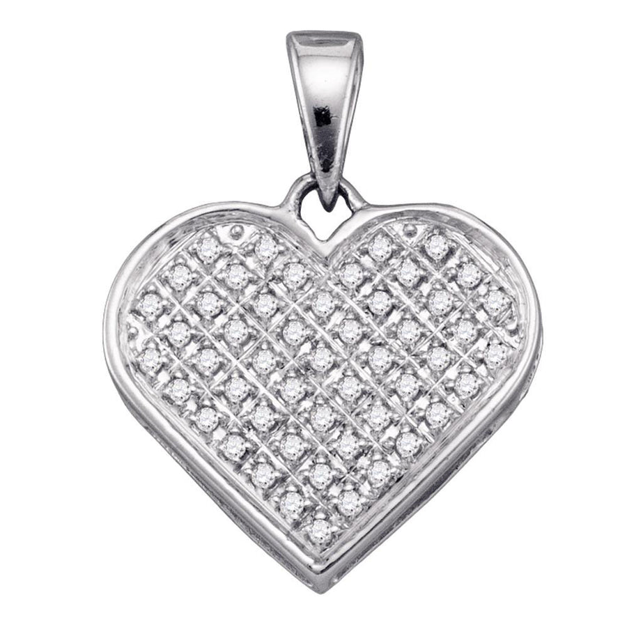 Sterling Silver Womens Round Diamond Heart Cluster Pendant 1/6 Cttw