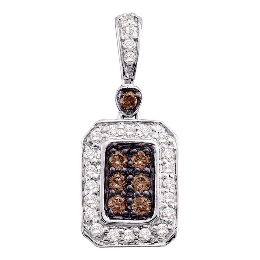 10kt White Gold Womens Round Brown Diamond Rectangle Cluster Pendant 1/4 Cttw