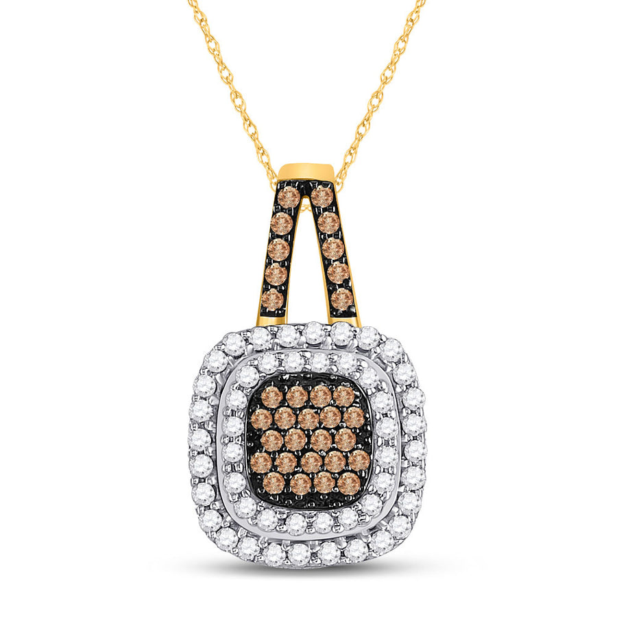 10kt Yellow Gold Womens Round Brown Diamond Square Frame Pendant 1/2 Cttw