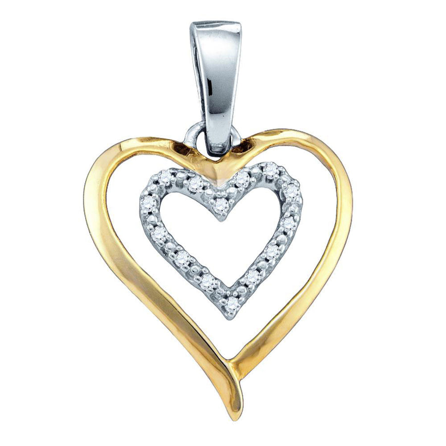 Sterling Silver Two-tone Womens Round Diamond Double Heart Pendant 1/20 Cttw
