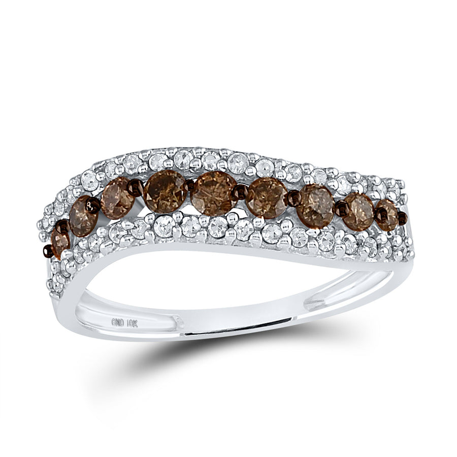 10kt White Gold Womens Round Brown Diamond Contoured Band 3/4 Cttw