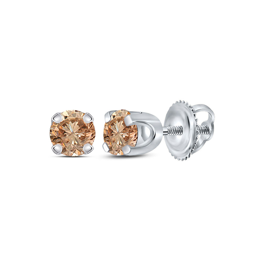 10kt White Gold Womens Round Brown Diamond Solitaire Earrings 1/4 Cttw