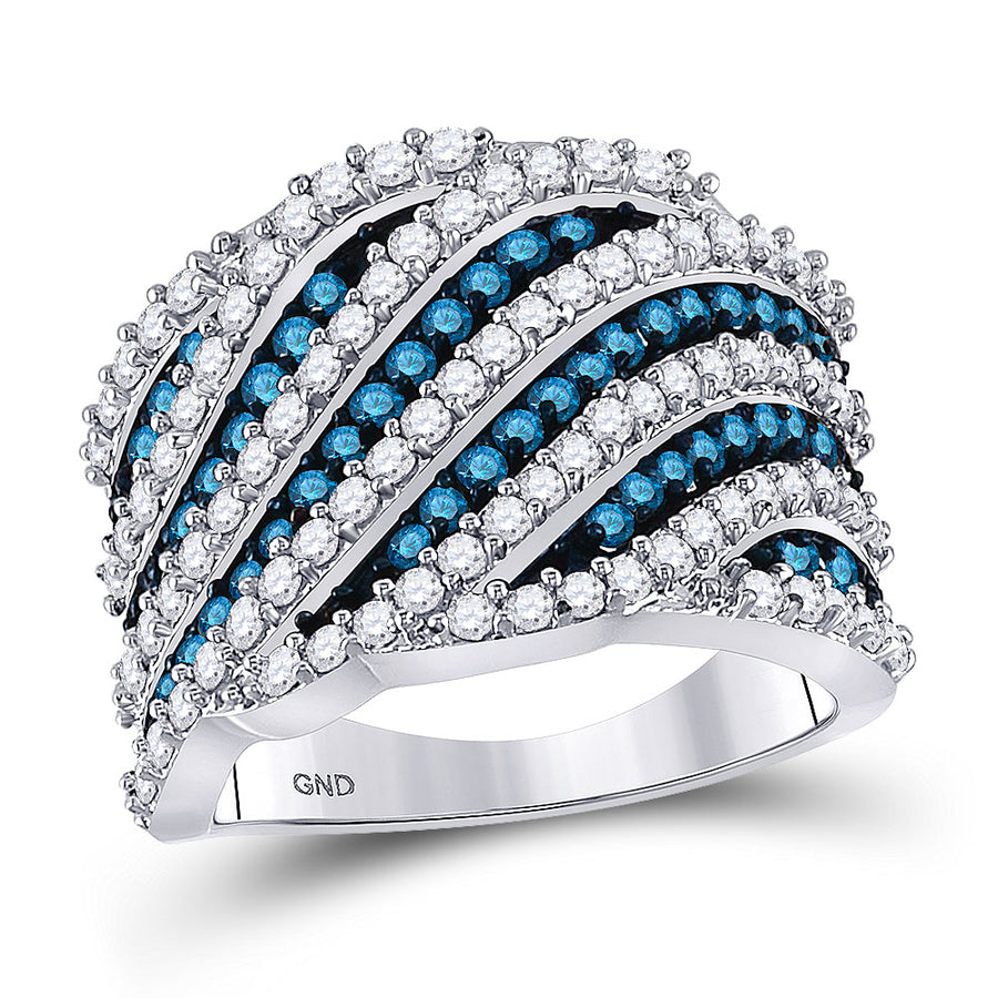 10kt White Gold Womens Round Blue Color Enhanced Diamond Stripe Fashion Ring 1-3/4 Cttw